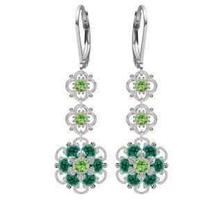 Lucia Costin Silver, Light Green, Dark Green Crystal Earrings