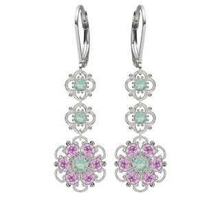 Lucia Costin Silver, Mint Blue, Lilac Crystal Earrings