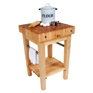 John Boos Maple PPB2424-C Pro Prep Block Cart 24x24 With Towel Bar And J A Henckles 13 Piece Knife Set