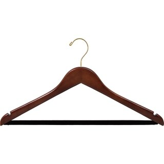 Walnut Finish Wooden Suit Hanger with Non-slip Bar and Notches (Case of 100)