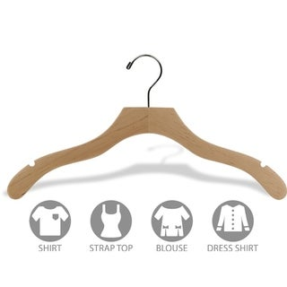 Natural Finish Notched Wavy Suit Hangers (box of 25)