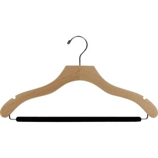 The Great American Hanger Company Natural Wavy Suit Hanger with Non-slip Bar and Notches (Box of 50)
