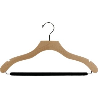 The Great American Hanger Company Natural Wavy Suit Hanger with Non-slip Bar and Notches (Box of 100)