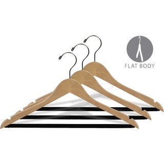 Extra Large Natural Finish Notched Wooden Suit Hanger with Non-slip Bar, 17 Inch Long Hanger with Notches (box of 25)