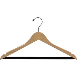 Natural Finish Notched Wooden Suit Hanger with Non-slip Bar (Case of 100)