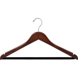 Walnut Finish Notched Wooden Suit Hanger with Non-slip Bar (Case of 25)