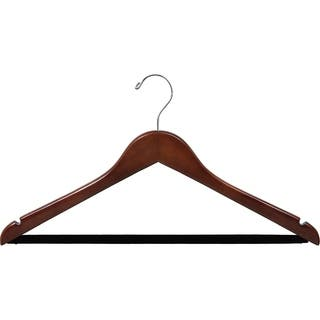 Walnut Finish Notched Wooden Suit Hanger with Non-slip Bar (Case of 25)|https://ak1.ostkcdn.com/images/products/10606012/P17677903.jpg?impolicy=medium