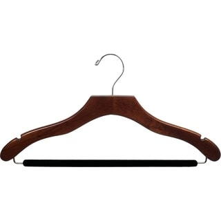 The Great American Hanger Company Wavy Walnut Suit Hanger with Non-slip bar and Notches (Box of 25)