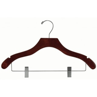 The Great American Hanger Company Wavy Walnut Suit Hanger with Clips and Notches (Box of 50)