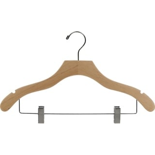 Natural Finish Notched Wavy Combo Hanger with Clips (Case of 25)