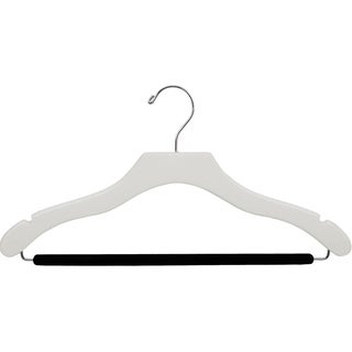 White Wavy Suit Hanger with Non-slip Bar (Case of 50)