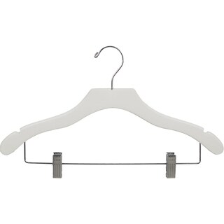 White Notched Wavy Combo Hanger with Clips (Case of 50)