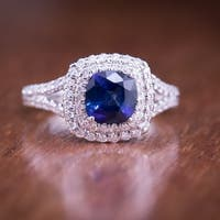 Auriya 18k White Gold 1ct Blue Sapphire and 1ct TDW Halo Diamond Engagement Ring