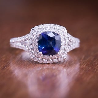 Auriya 18k White Gold 1ct Blue Sapphire and 1ct TDW Halo Diamond Engagement Ring (F-G, SI1-SI2)