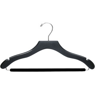 The Great American Hanger Company Black Wavy Suit Hanger with Non-slip Bar (Box of 50)