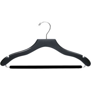 The Great American Hanger Company Black Wavy Suit Hanger with Non-slip Bar (Box of 100)