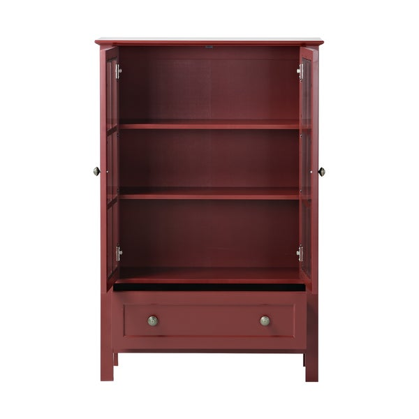 Glass 2 Door Tall Cabinet with Drawer Free Shipping Today