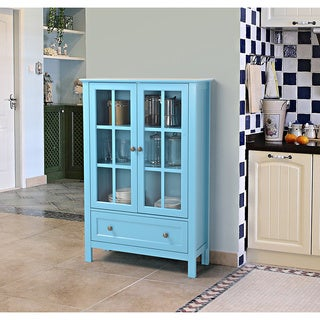 Glass 2 Door Tall Cabinet With Drawer