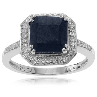 Journee Collection Sterling Silver 2 1/4 ct Sapphire and Topaz Ring