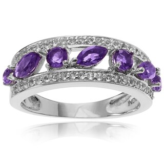 Journee Collection Plated Sterling Silver Amethyst Topaz 7/8 CT Band