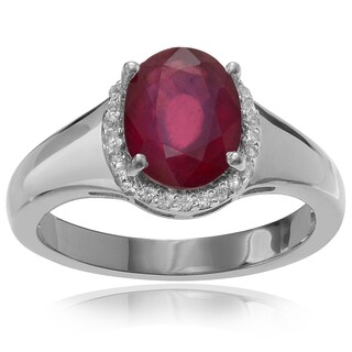 Journee Collection Sterling Silver 1 5/8 ct Ruby and Topaz Ring