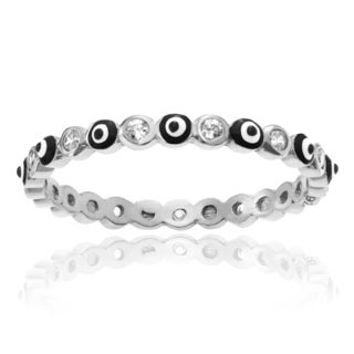 Journee Collection Sterling Silver Cubic Zirconia Accent Evil Eye Eternity Ring (2mm)