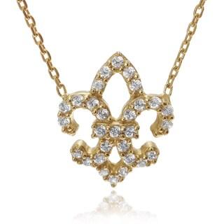 Journee Collection Goldplated or Silver Cubic Zirconia Fleur De Lis Pendant