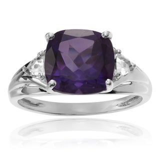 Journee Collection Sterling Silver 2 1/2 ct Amethyst and Topaz Accent Ring
