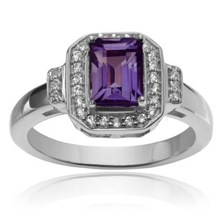 Journee Collection Sterling Silver 4/5 ct Amethyst and Topaz Ring