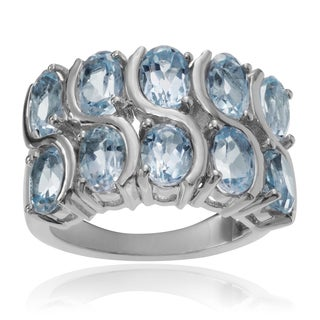 Journee Collection Sterling Silver 4 4/5 ct Blue Topaz Ring