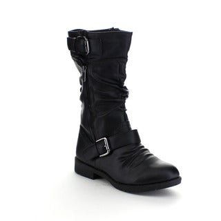 FOREVER BARBARA-34 Women's Mid Calf Slouch Buckle Boots