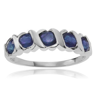 Journee Collection Sterling Silver Sapphire 5-stone Ring