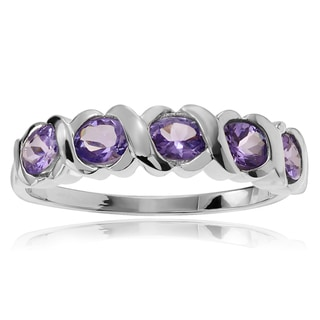 Journee Collection Sterling Silver Amethyst 5-stone Ring