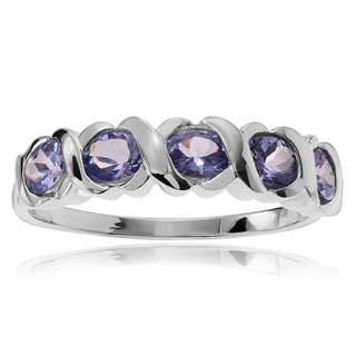 Journee Collection Sterling Silver Tanzanite 5-stone Ring