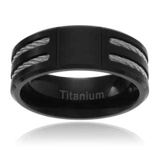 Vance Co Men's Titanium Black IP Double Cable Inlay Brushed Band (8MM)