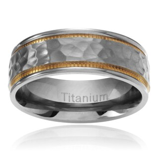 Territory Men's Titanium Yellow IP Milgrain Hammered Center Wedding Band (7.5MM)