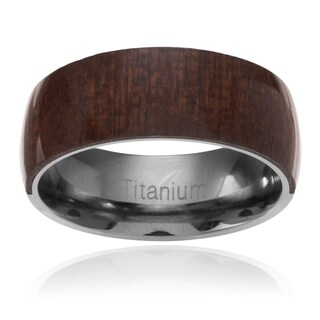 Men's Titanium Mahogany Wood Inlay Band