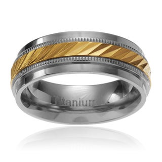 Territory Men's Titanium Yellow IP Notched Center Milgrain Wedding Band (7.5MM) (4 options available)