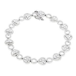 Luxurman 14k White Gold 4 1/3ct TDW Diamond Heart Bracelet (H-I, SI1-SI2)