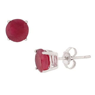 Pori Sterling Silver Round Ruby Gemstone Stud Earrings