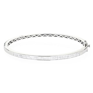 Luxurman 14k Gold 1 1/5ct TDW Princess-cut Diamond Bangle Bracelet (G-H, VS1-VS2)