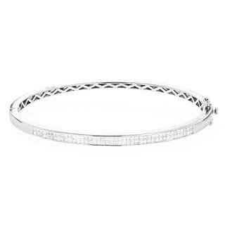 Luxurman 14k Gold 1 1/5ct TDW Princess-cut Diamond Bangle Bracelet