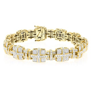 Luxurman 14k Yellow Gold Men's 6 7/8ct TDW Diamond Bracelet (G-H, Si1-SI2)