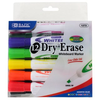 Bazic Dry-Erase Assorted Color Chisel Tip Whiteboard Markers
