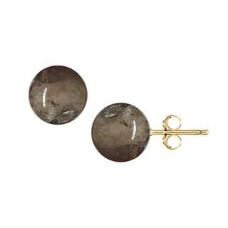 Pori 14K Yellow Gold Smoky Quartz Ball Stud Earrings