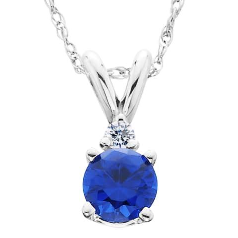 14k White Gold 1ct TDW Created Blue Sapphire & Diamond Solitaire Pendant (H-I,I2-I3)