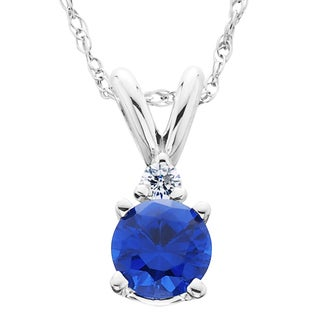14k White Gold 1ct TDW Created Blue Sapphire & Diamond Solitaire Pendant (H-I,I2-I3)