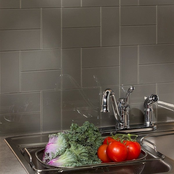 Up To 45 Off Peel Stick Kitchen Backsplash Tile At Walmart: Shop Aspect 3x6-inch Leather Decorative Wall 15-Square