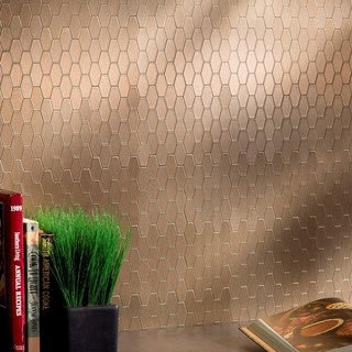Aspect 6x4-inch Wide Hex Champagne Matted Metal 15-Square Foot Kit