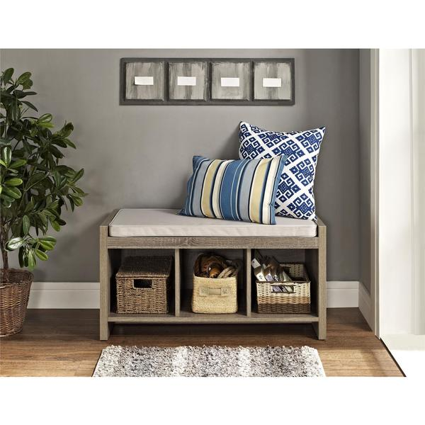 Ameriwood Home Sonoma Oak Storage Bench with Beige Cushion - Free Shipping Today - Overstock.com ...